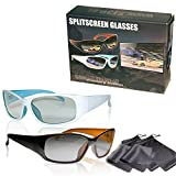 SJ3D 2 Spieler Splitscreen Gaming Brillen – hochwertiges Set Gaming Brille schwarz/orange &...