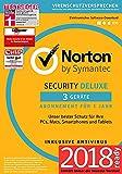 Norton Security Deluxe Antivirus Software 2018 / Zuverlässiger Virenschutz (Jahres-Abonnement) für...
