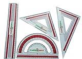 PARTH Impex klar Kunststoff Mathematik Geometrie Werkzeug Set (4Stück) Lineal Winkelmesser Set quadratisch Triangle