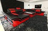 Sofa Wohnlandschaft Enzo XXL Designer Couch + LED schwarz - rot
