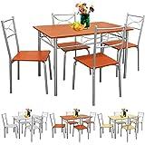 Sitzgruppe für Esszimmer Küche & Balkon ✔ 5 tlg - 4 Stühle & 1 Tisch ✔ Tischgruppe Essgruppe Esstischgruppe Balkonmöbel Balkon Sitzgruppe ✔ Modellauswahl - Kastanie