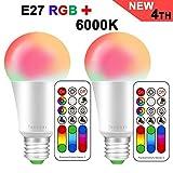 LED RGBW Lampe mit Fernbedienung | E27 farbwechsel led | 10W(ersetzt 60W) Dimmbar Speicherfunktion...