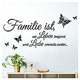 Grandora W5457 Wandtattoo Zitat Familie ist. I schwarz (BxH) 80 x 40 cm I Flur Diele Wohnzimmer...