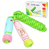 Homello Verstellbare Springseil für Kinder, Springen Seil mit Cartoon Holzgriff und Baumwollseil,...