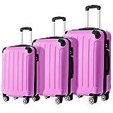 Flieks ReiseKoffer Hartschale Trolley Koffer Gepäck-Sets mit 4 Doppel-Rollen, Set-XL-L-M (Pink,...