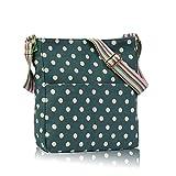 Damen/Mädchen, Schmetterling, Blumen mit Punkten, Eulen-Umhängetasche, Messenger Bag, Segeltuch