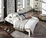 SAM Futonbett 140x200 cm Sina, Gästebett, weiß lackiert, Kiefernholz, massives Bett aus Kiefer