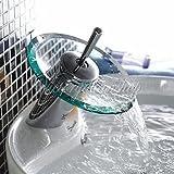 Generic Waschbecken Mixer Wasserhahn Glas Wasserfall Badezimmer Chrome Messing Hebel Wasserhahn