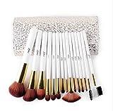 OOARGE 15 stücke Make-Up Pinsel Set Pulver Kontur Augenbraue Künstliche Faser Pinsel Mit Kosmetische Pu-leder Tasche