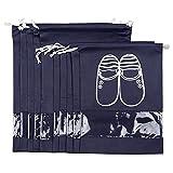 FunYoung Schuhbeutel mit Zugband Wasserabweisend 10er Set (Schwarzblau)