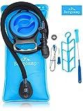Bergcamp 2 Liter Trinkblase & Reinigungsset - wasserdichte Wasserblase ideal für den Rucksack zum Wandern, Campen oder Radfahren, geschmacklos und BPA-frei, große Öffnung, Trinksystem Blase, Wasserbehälter für Outdoor (2L)