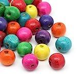 HOUSWEETY 200 Bunt Holz Perlen Holzperlen zur Herstellung von Armbaender Anhaenger 14x13mm