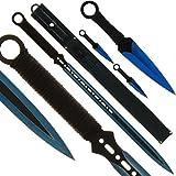 BKL1 Machete und Wurfmesser Set Blue Ninja Schwert Throwing Knife 1414