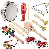 Holz Kinder Percussion, 14 Stück Musikinstrumente Kinder Set Schlagzeug Spielzeuge Rhythmus Band...