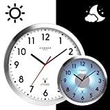 Cander Berlin MNU 5230 Weiße Funkwanduhr aus Aluminium mit lautlosem Uhrwerk, Lichtsensor und...
