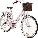 Galano 26 Zoll Cityrad Belgravia 6 Gang Damenfahrrad Mädchenrad Citybike mit Korb, Farbe:pink,...