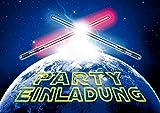 'LICHTSCHWERTER-EINLADUNGEN' (10792): 12-er-Set spacige Einladungskarten zum Kindergeburtstag oder zur Space-Party von EDITION COLIBRI © - umweltfreundlich, da klimaneutral gedruckt