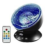 Emotionlite Ozean Wellen Projektor Nachtlicht mit eingebautem Mini-Musik-Player und Fernbedienung 12...