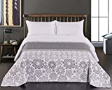 DecoKing 77207 Tagesdecke 220 x 240 cm stahl silber weiß anthrazit Bettüberwurf zweiseitig white...