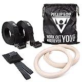 PULLUP & DIP Turnringe Holz Gym Rings Premium Gymnastikringe Gym Ringe Turnerringe für Crossfit &...