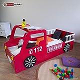 Homestyle4u Doppelbett in Fire Truck Design, Holz, rot, 98x 205x 60cm