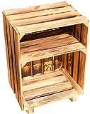 Nachttisch Absetlltisch weiß / natur / geflammt Maße ca 30x40x55cm Regalkiste Flaschenablage Weinregal Apfelkiste / Weinkiste (Geflammt)