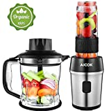 Standmixer, Aicok Smoothie Maker, 700 Watt Blender, 2 in 1 Multifunktion Mixer + Fleischwolf/Mini...