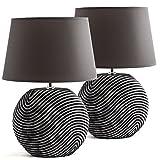 2er Set BRUBAKER Tisch- oder Nachttischlampen Anthrazit Grau, Keramikfüße in zweifarbigem, mattem Finish - 38 cm Höhe