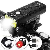 OUTERDO Fahrrad Frontlicht LED Scheinwerfer wasserdicht&wiederaufladbare Fahrradbeleuchtung Set 5 Licht-Modi mit langer Laufzeit StVZO Mit Faden