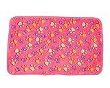 Demarkt warme Decke für kleine Hunde Katzen Korallensamt Hundfußabdrücke Muster 20*20cm Rosa