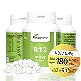Vitamin B12 1.000 µg, B6 + Folsäure   180 Tabletten   Sinnvolle B-Vitamin Kombination   Hochdosiert   Methylcobalamin   Vegan ohne künstliche Aromen und Gelatine   Vegavero: from Nature - with Passion - for You!