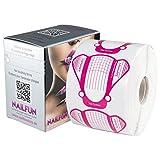 NAILFUN - 1 Rolle (500 Stück) selbstklebende BUTTERFLY Pink Modellier Schablonen extra-breit für die künstliche Fingernagel-Modellage inkl. Spenderbox
