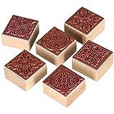 TRIXES Set mit 6 quadratischen Stempeln mit verschiedenen Ornamenten für Kunst und Handwerk mit Holzgriff Geschenk Brief Karten
