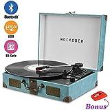 BoxLegend Turntable Vinyl Plattenspieler Koffer Vintage Retro Bluetooth USB Nostalgie Schallplattenspieler mit Lautsprecher Riemenantrieb Aux-In RCA 33/45/78 U/min tragbar Holz
