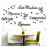 Wandora G006 Wandtattoo Kaffee-Sorten I schwarz Kreativset I Herz Kaffeetasse Bohnen Küche...