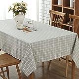 GWELL Leinen Tischdecke Eckig Abwaschbar Tischtuch Pflegeleicht Schmutzabweisend 7 Farbe & 10 Größe wählbar graue Karos 140*140cm
