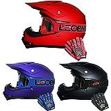 Leopard LEO-X15 Kinder Kinder MOTOCROSS Motorrad HELM & HANDSCHUHE & GOGGLES Mattschwarz XL (55cm)