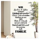 Wandaro W3301 Wandtattoo Spruch Wir sind eine tolle Familie. I schwarz 58 x 90cm I Flur Diele...