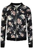 LCL- Frauen Mädchen Blouson Damen Übergangsjacke mit Blumen Blüten Muster - Bomberjacke Floral Jacke Größe:34-44 (S/M, 34/36, Black - Flower Print)
