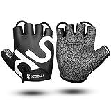 Fahrrad Handschuhe Fingerlos Schwarz Fitness SBR Gepolsterte Unisex Sport Gloves für Krafttraining...