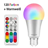 LED Lampe Farbwechsel LED2YOU 10W E27 LED RGBW Lampe mit Fernbedienung Dimmbar Speicherfunktion...