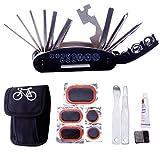FunRun Fahrradreparaturset mit Flickzeug, Multitool Fahrrad Reparatur Set, Fahrrad Werkzeug Reparaturset, Multifunktionswerkzeug, Reifenheber, Selbstklebendes Fahrradflicken Inbegriffen