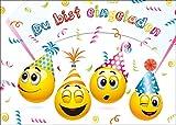Smiley-Einladungen (Set 2): 'LET´s HAVE a PARTY' 10-er-Set lustige Smiley- / Emoji-Einladungskarten zum Kindergeburtstag von EDITION COLIBRI © (10719)