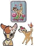 3 tlg. Set - Bügelbilder - ' Disney - Reh Bambi ' - 6,8 cm * 8,5 cm - Aufnäher Applikation - Rehe / Hirsch - gestickter Flicken - Jungen & Mädchen - Waldtier - Hirsche - Rehkitz / Tiere - Bügelflicken / Hosenflicken - Bügelsticker