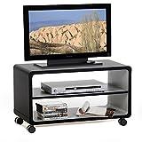 TV Rack Beistelltisch Lowboard Couchtisch Wohnzimmertisch MIAMI, 1 Regalboden, 4 Doppelrollen, in schwarz/grau