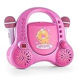 auna Rockpocket • Kinder Karaoke Anlage • Karaoke Player • Karaoke Set • 2 x dynamisches Mikrofon • CD-Player • Stereolautsprecher • programmierbar • Wiederholfunktion • Echo-Effekt • A.V.C. Funktion • optionaler Batteriebetrieb • Tragegriff • pink