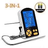 3 in 1 Bratenthermometer, PATHONOR Wasserdichte Küchen Thermometer und Thermometer und Zeitmesser 3...