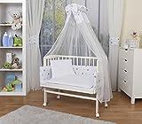 WALDIN Baby Beistellbett komplett mit Ausstattung, höhen-verstellbar, Buche Massiv-Holz weiß lackiert, 8 Farben wählbar,Sterne grau/blau