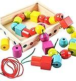 Lewo Bastelset verschiedenen Farben und Formen Holzfädelperlen groß in Holzkassette für den einfachen Transport für Kinder