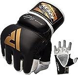 RDX Rindsleder MMA Handschuhe Grappling UFC Sparring Kamfsport, schwarz, L